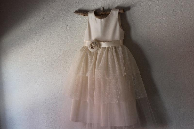 Wedding - Vintage style Flower Girl Dress,  natural Organic cotton flower girl dress, lace flower girl dress, tulle flower girl dress
