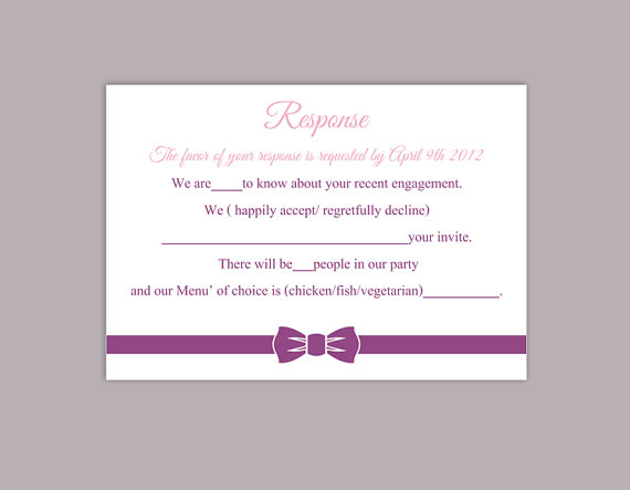 DIY Wedding RSVP Template Editable Word File Instant Download Rsvp Template  Printable RSVP Card Eggplant Purple Rsvp Card Bow Rsvp Card