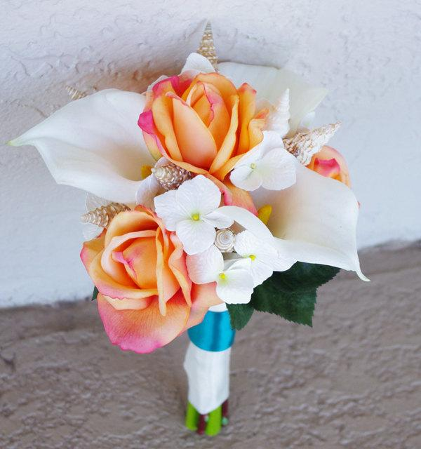 Mariage - Wedding Natural Touch Beach Seashells Off White and Orange Roses and Callas Silk Flower Bride Bouquet - Almost Fresh
