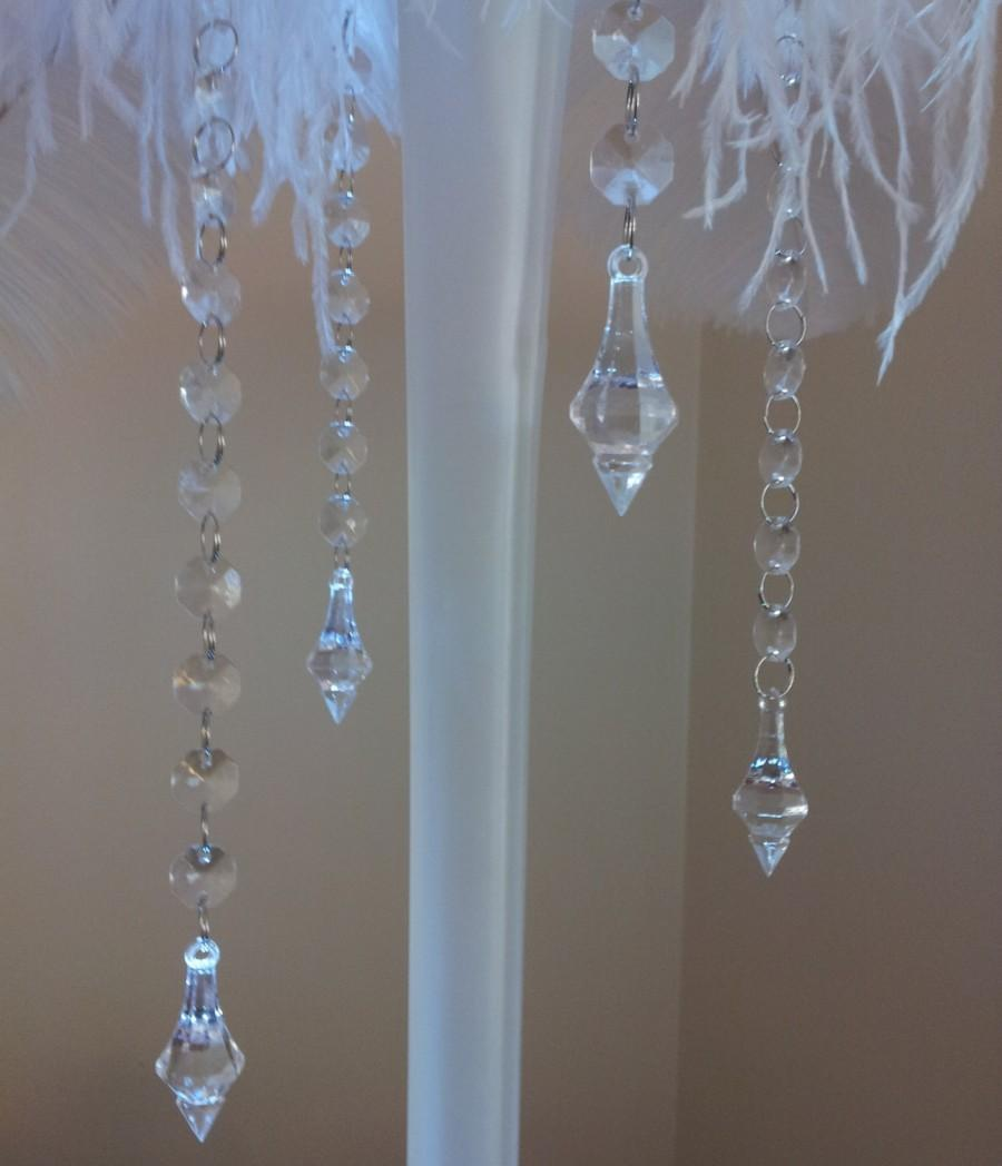 Set of 4 hanging crystals 4 crystal garlands with elegant chandelier pendants with or without - Crystal hanging chandelier ...