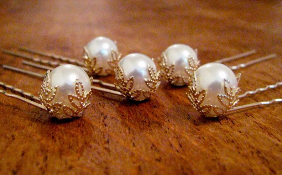 زفاف - Pearl hair pins, Bridal pearl hair pins, Ivory pearl bobby pins, Silver and gold filigree hair pins