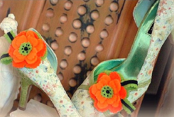 Wedding - Shoe Clips Tangerine & Lime Flower. Bright Fun Orange. Bridal Bridesmaid Statement Gift, Girly Teen Women Woman Handmade Spring Couture 2015