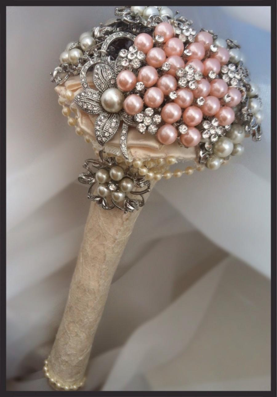 Brooch Bouquet Mini Vintage Style Ivory And Pink Wedding Bridal Bridesmaid Flowergirl