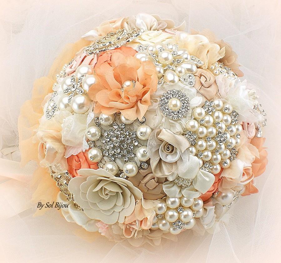 Свадьба - Brooch Bouquet, Coral, Peach, Cream, Blush, Ivory, Beige, Champagne, Jeweled Bouquet, Wedding, Bridal, Pearls, Crystals, Elegant Wedding