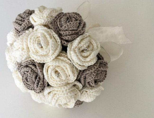 Fabric Flower Bouquet, Artificial Flower Arrangement, Crochet Bridal ...