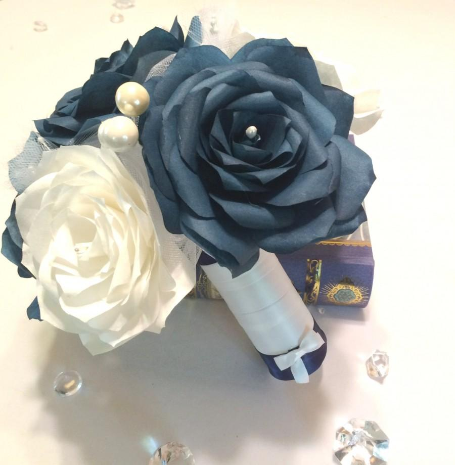 navy blue wedding bouquet alternative wedding bouquet paper