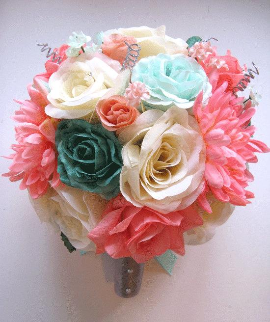 Boda - Wedding Bouquet Bridal Silk flower Decoration 17 pcs Package CORAL TEAL MINT green Gray Peach Silver Free shipping centerpieces Roses&Dreams