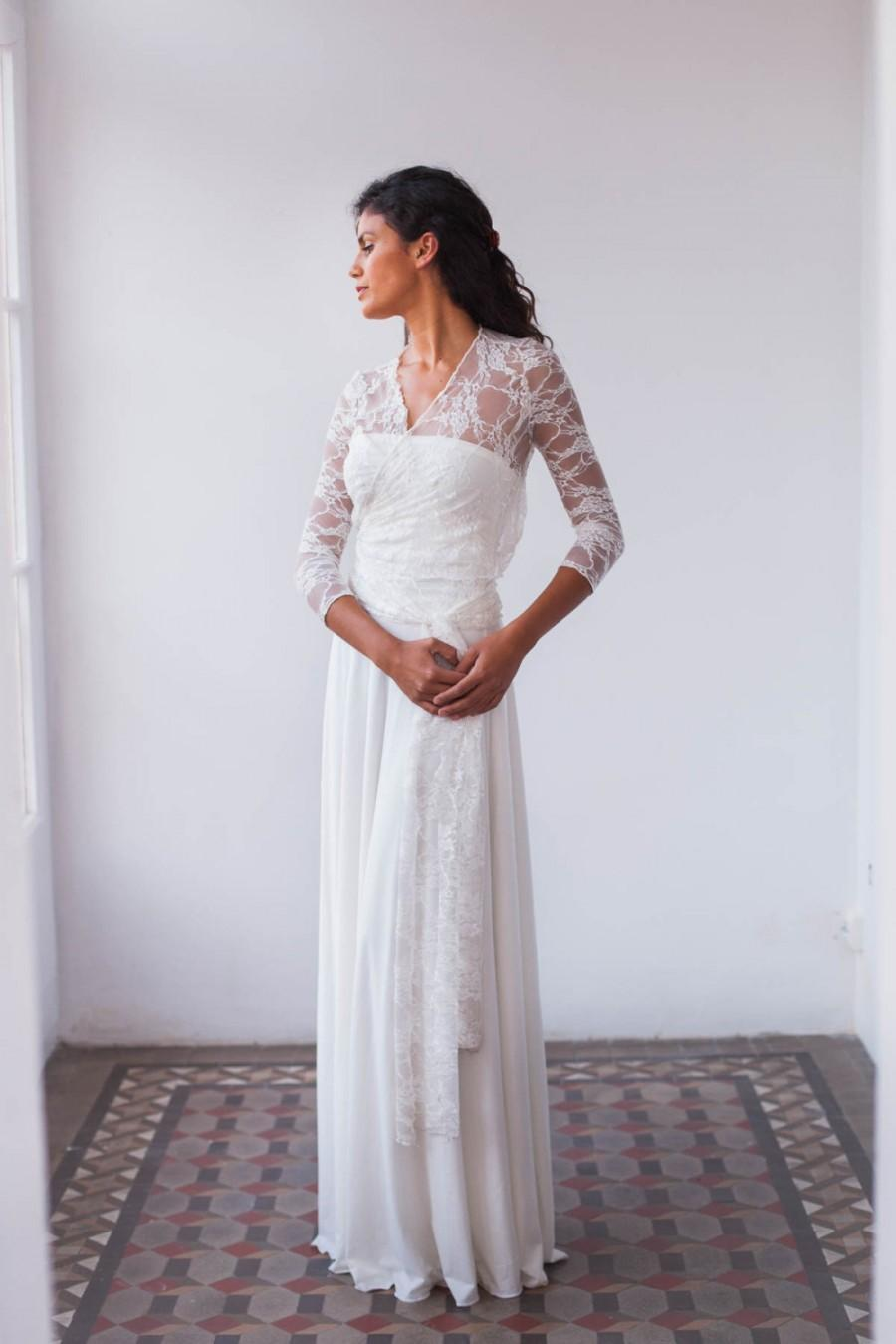 Wedding - Lace wedding dress boho, bohemian wedding dress, lace dress, long sleeve wedding dress, lace sleeves dress, lace bridal gown, lace weddings