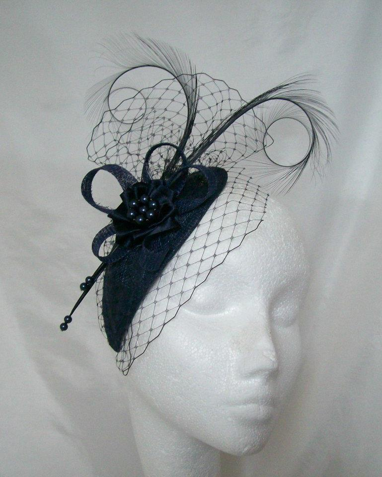 زفاف - Light Navy Blue Eleanora Blusher Veil Curl Feather & Pearl Teardrop Fascinator Mini Cocktail Hat Wedding Derby - Custom Made to Order