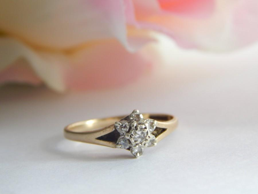 rings diamond ring vintage in cluster full with item engagement daisy mid gold f shape century engraving