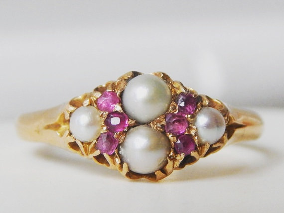 Hochzeit - Art Deco Engagement Ring - 1920s - Gold Ruby and Split Pearl Ring with Chevron Design - Anniversary Gifts for Women