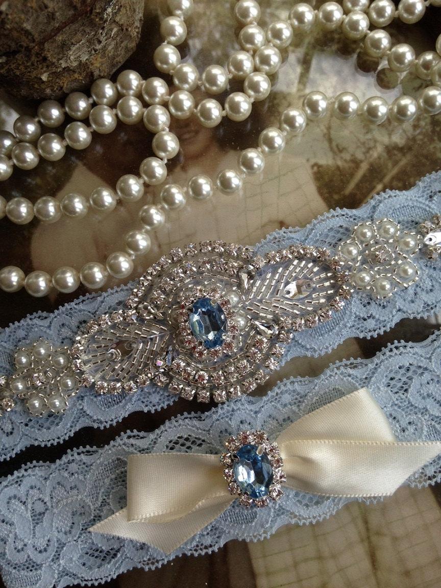 SALE Wedding Garter Light Blue Lace Set Rhinestone