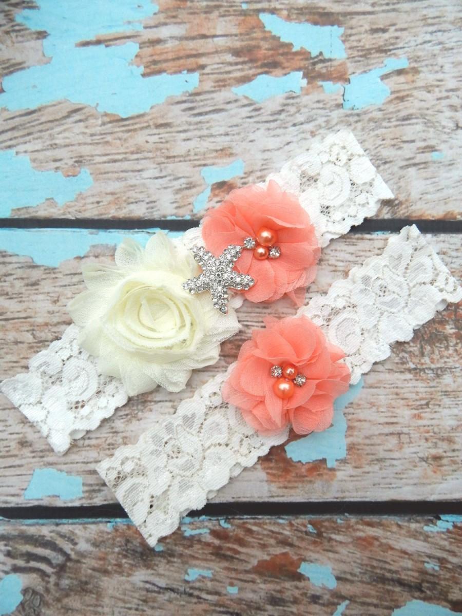 Свадьба - GARTER / Beach Wedding Garter  / Coral Garter Set / Starfish Garter set / Toss Garter / Beach Garter / Lace Garter