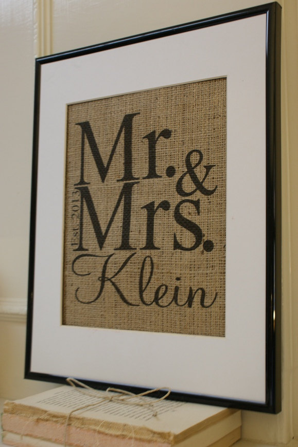 Mariage - Personalized Wedding Burlap Print...Great for engagement, wedding, anniversary, etc.