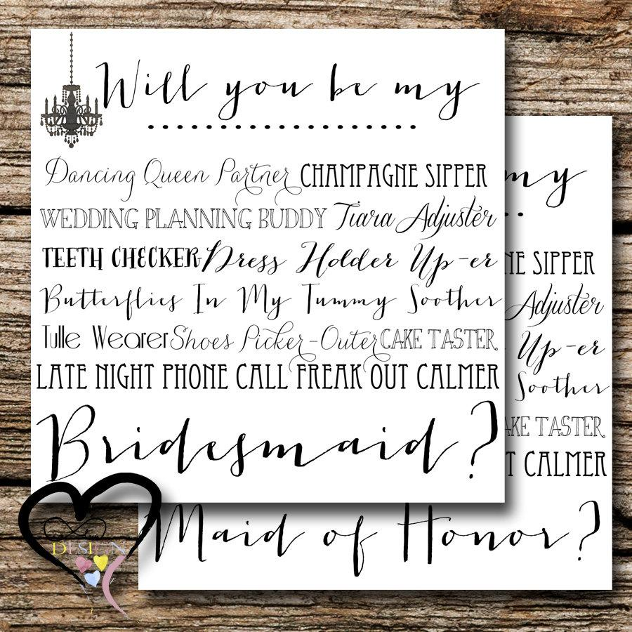 Bridesmaid Proposal Card Ask Set Of Two Wedding Party