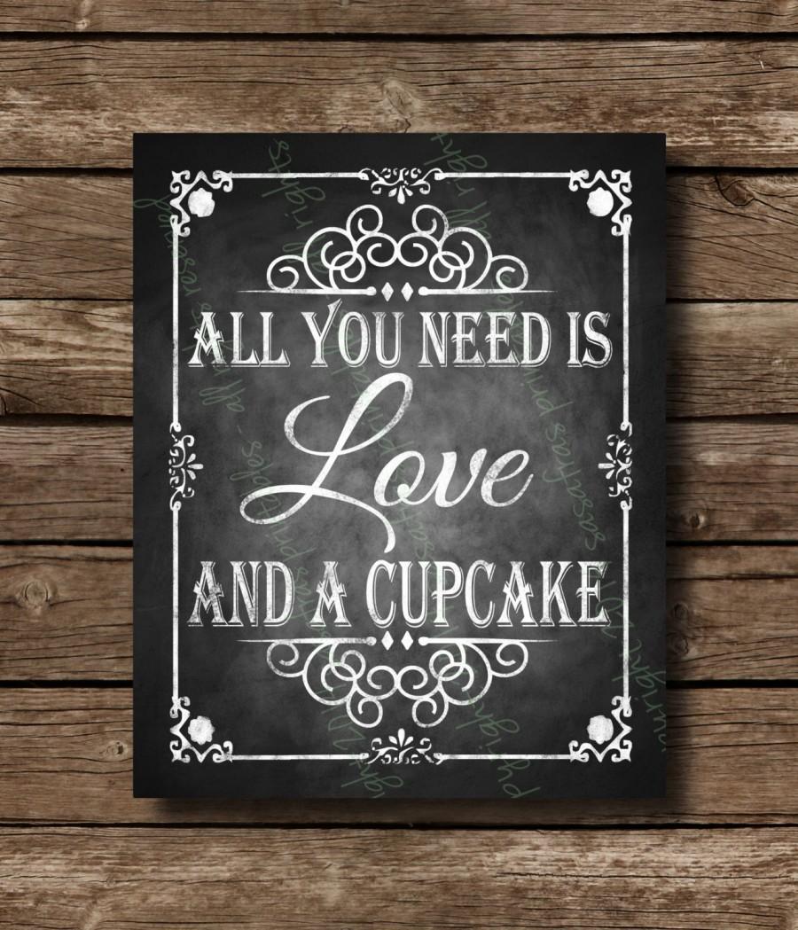 Printable Chalkboard Wedding Cupcake Sign Dessert Bar Cupcakes Rustic And A