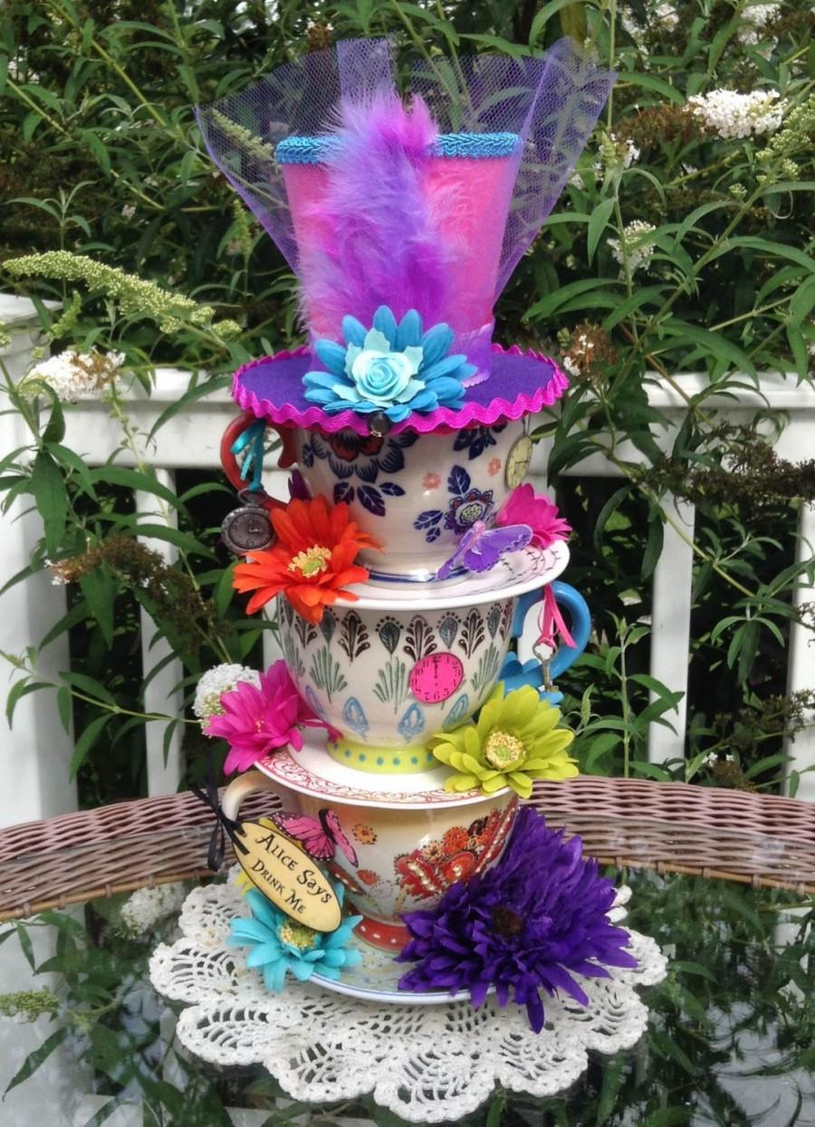 mad hatter oversized handpainted stacked teacup centerpiece 1 rh weddbook com