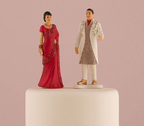 Wedding - Indian Bride and Groom Traditional Wedding CakeToppers -Porcelain Couple Figurines Mix and Match Sold Separately or You can buy both
