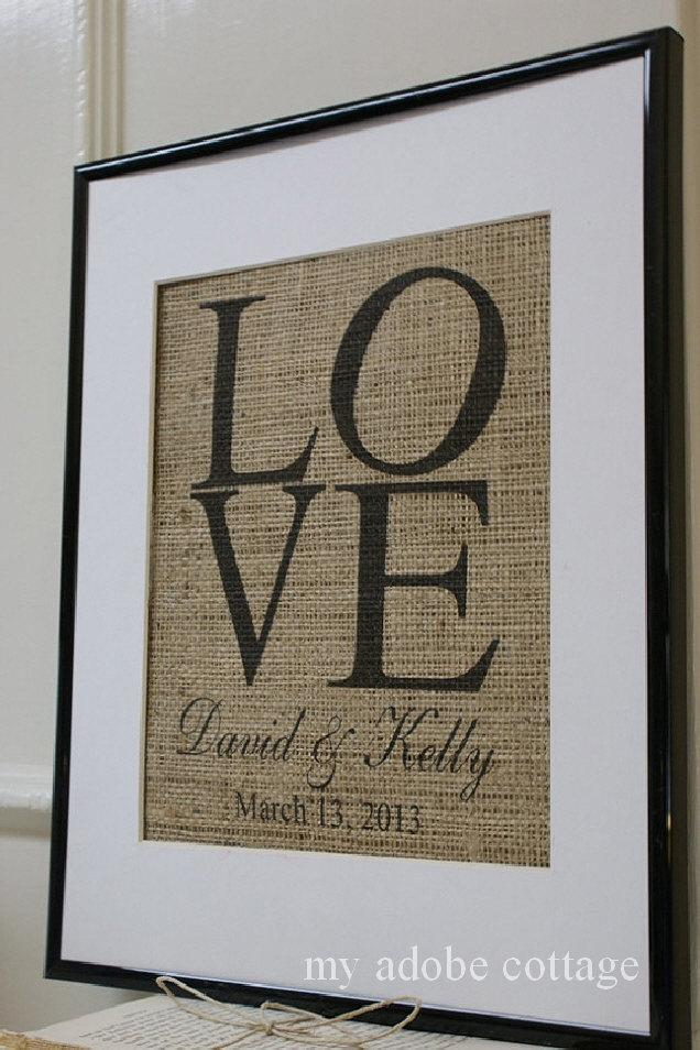 Свадьба - Lovely Personalized Burlap Print - great engagement gift, wedding gift, anniversary gift!