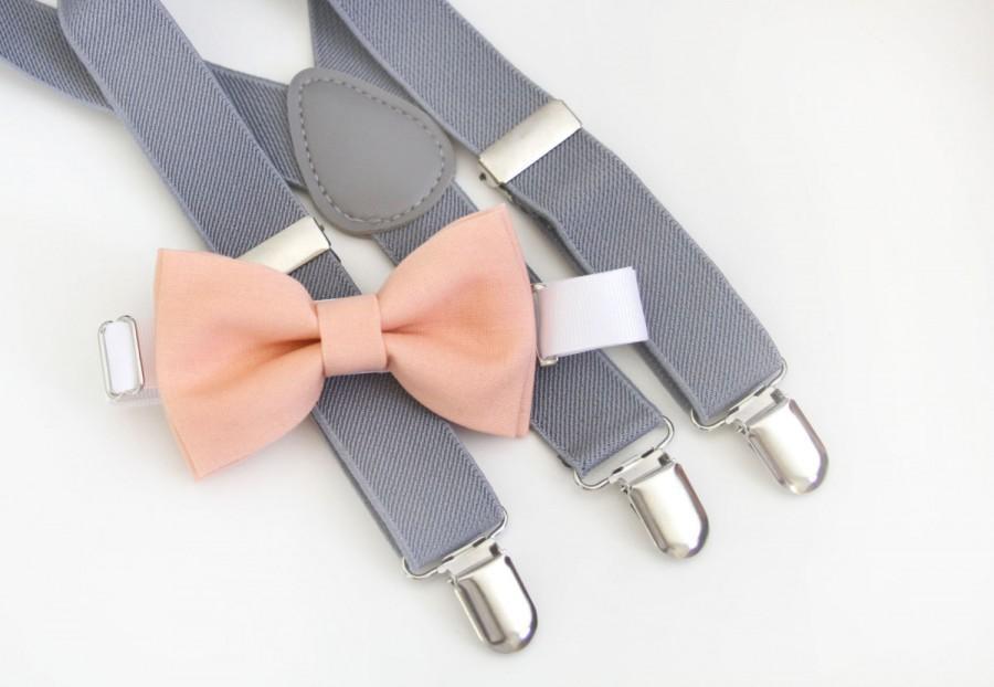 زفاف - Peach bow-tie & Light Gray suspender set
