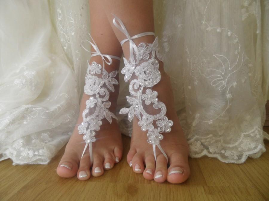 White Lace Barefoot Sandals NudeShoes Foot JewelryBeach Wedding
