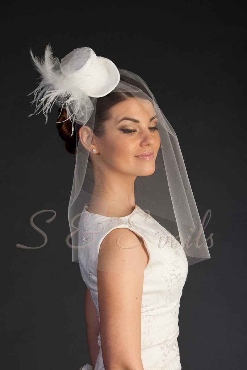 Clip On Mini Top Hat With Bridal Veil Head Piece Wedding