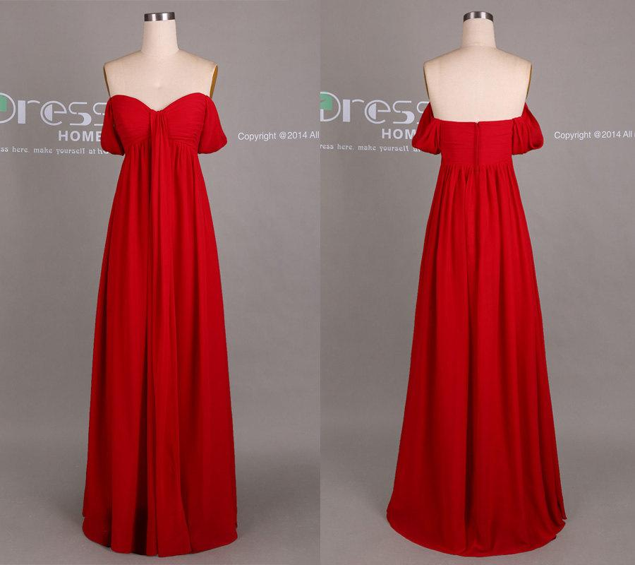 Свадьба - Sexy Red Off the Shoulder Prom Dress/Red Long Chiffon Bridesmaid Dress/Sexy Party Dress/Cheap Bridesmaid Dress/Maid Of Honor Dress DH413