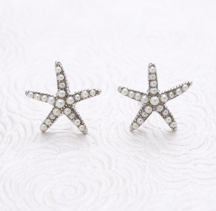 Pearl Starfish Earrings Beach Wedding Bridal Bridesmaid Silver Earring Accessory Nautical Rhinestone Jewelry