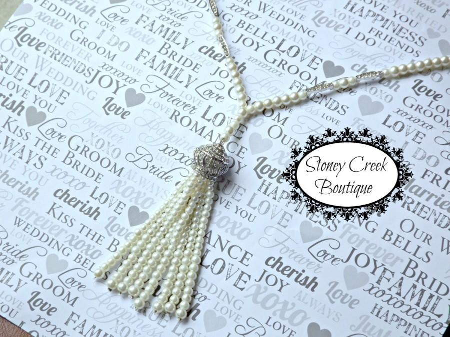 Wedding - Great Gatsby Pearl Tassel Necklace Gatsby Wedding Jewelry Flapper Roaring 20s Wedding Accessories