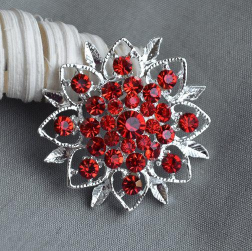Свадьба - 5 Large Rhinestone Button Embellishment Ruby Red Crystal Wedding Brooch Bouquet Invitation Cake Decoration Hair Comb Clip BT269