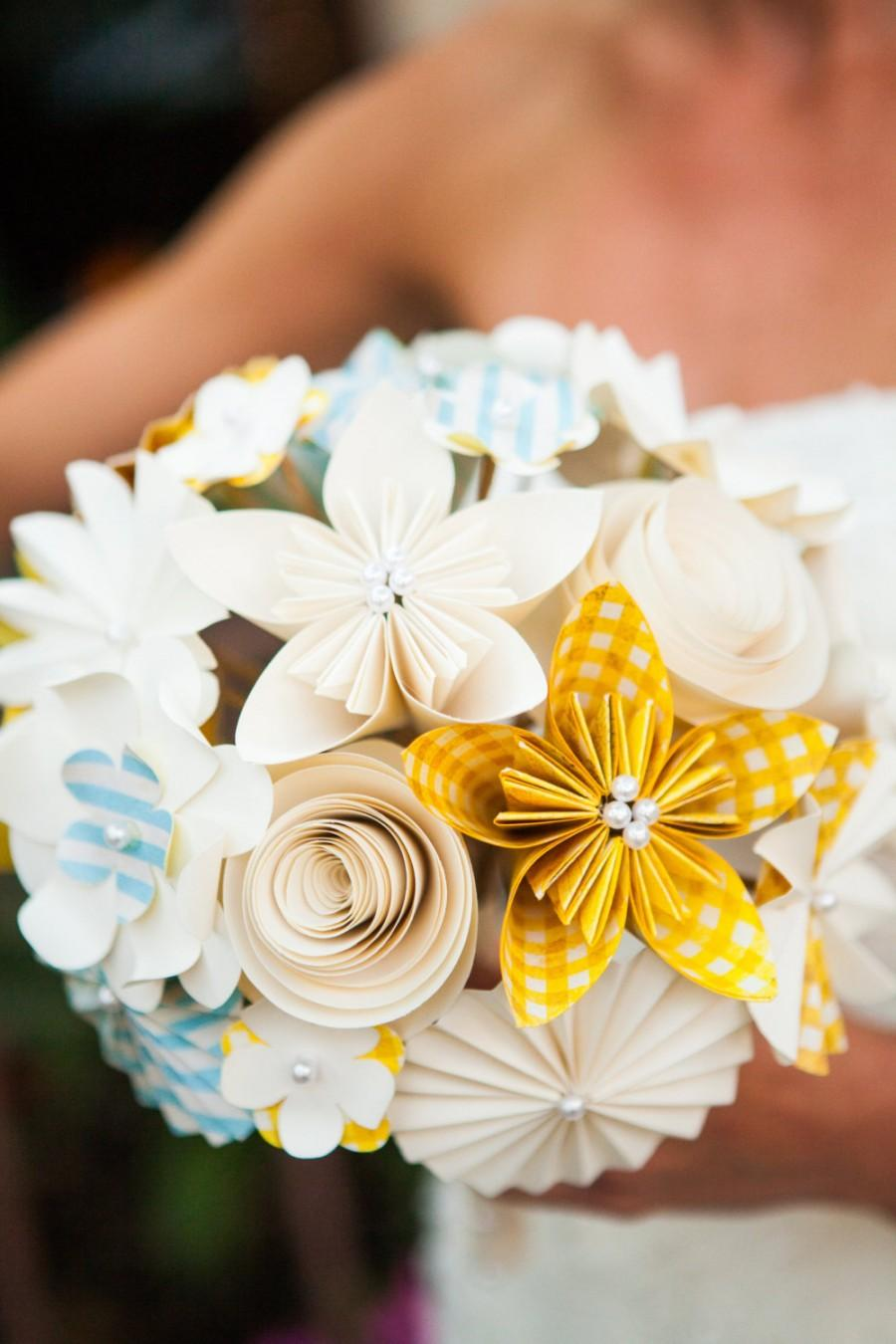 Свадьба - Bridal Bouquet - Paper Flowers - Kusudama Origami, Roses Daisies, Pinwheels - Made to Order