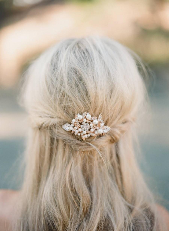 Свадьба - Rose Gold Bridal Hair Comb, Swarovski Crystal & Pearl Comb, Bridal Leaf Comb, Wedding Rhinestone Leaf Hair Comb, Bridal Pearl Hair Comb