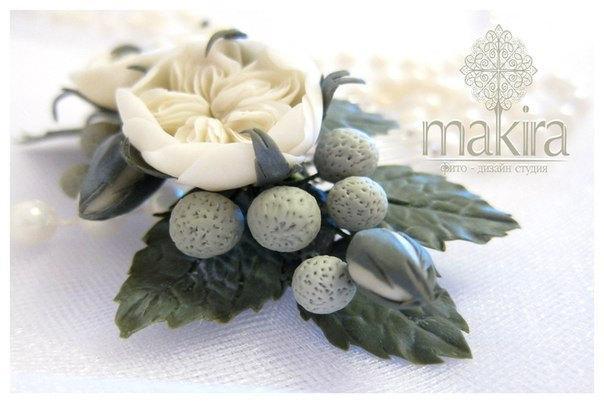 زفاف - Bridal flower comb. english roses, brunei. wedding flowers comb, ivory flower comb, polymer clay flowers. hair accessory, winter flower comb