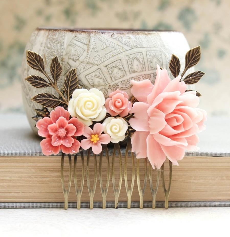Pink Rose Comb Big Pink Rose Coral Flower Comb Shabby Wedding