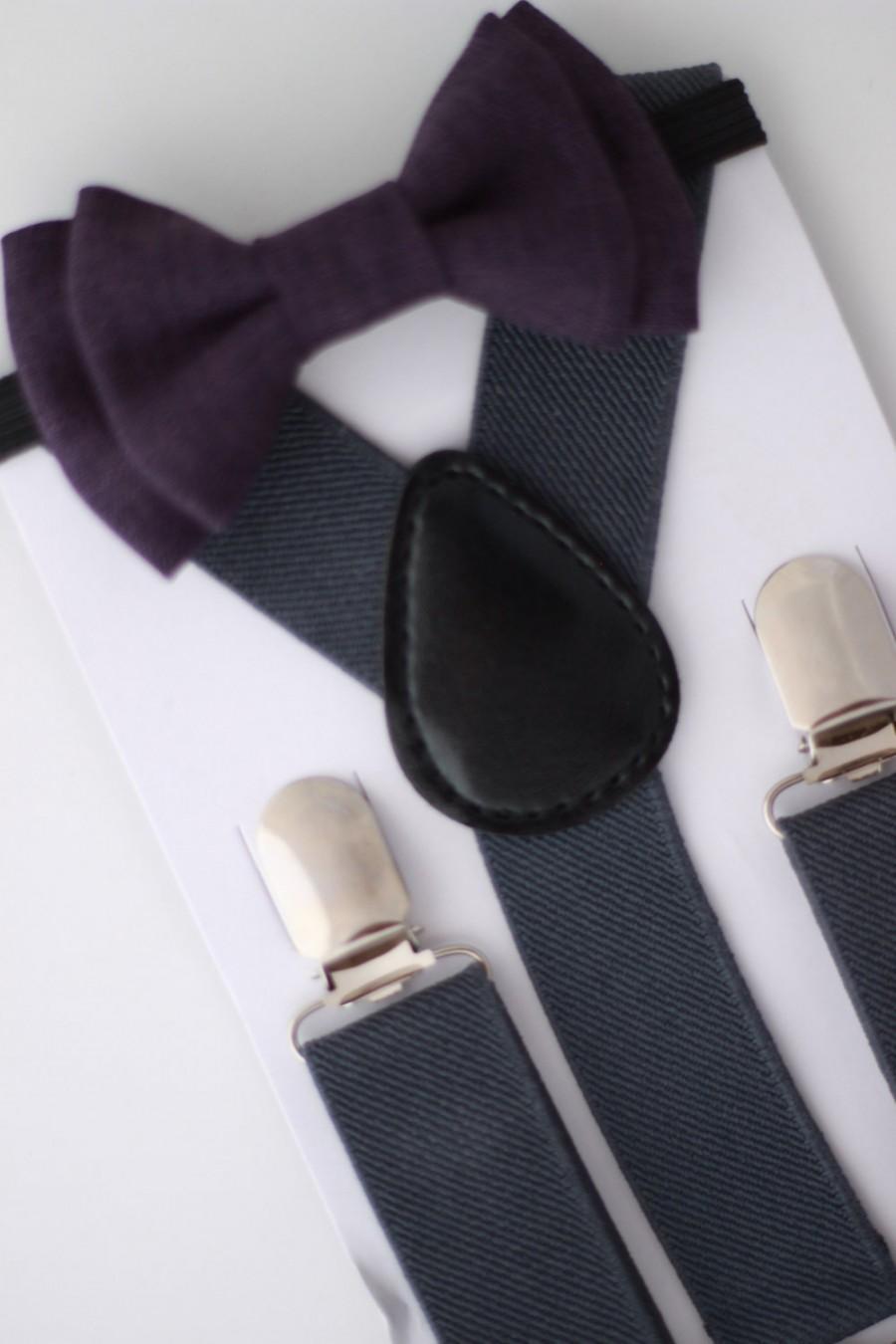 زفاف - SUSPENDER & BOWTIE SET.  Newborn - Adult sizes. Dark grey suspenders. Dark purple chambray bow tie.