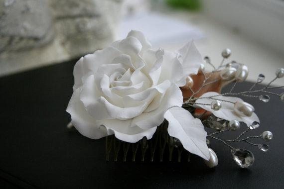 Wedding - Wedding hair accessories, Bridal flower comb - white rose, Wedding Hair flower, Bridal pearl comb, Bridal headpiece, Bridal hair accessory