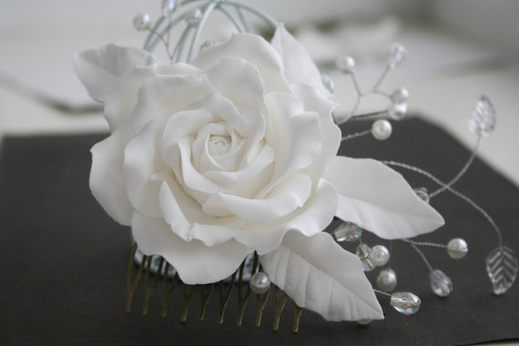 Свадьба - Bridal hair accessories, Rose comb, Bridal flower headpiece, Bridal flower comb, Bridal hair flower, Wedding flower comb
