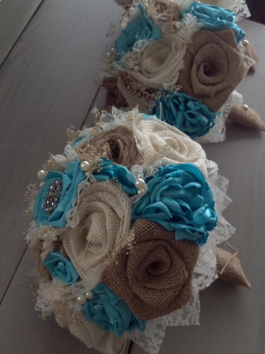 Свадьба - Handmade bridal bouquets with natural and ivory burlap and light teal blue flowers (listing is for one bridal bouquet)