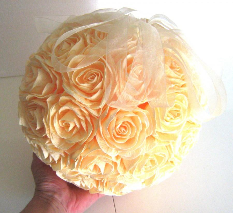 Great crepe paper flower ball ivory wedding hanging wedding pomander great crepe paper flower ball ivory wedding hanging wedding pomander kissing balls wedding centerpieces decor flower girl beach wedding mightylinksfo