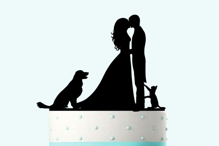 Mariage - Wedding Cake Topper Silhouette Groom and Bride, Acrylic Cake Topper