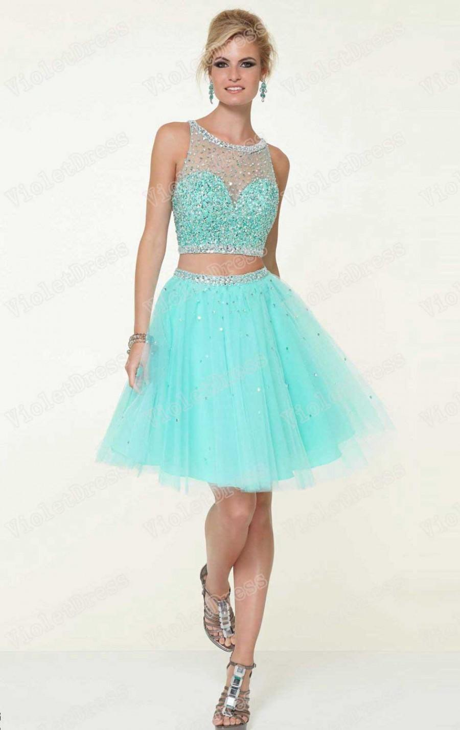Diamond Tulle Beaded Open Back Short Prom Dress #2440751 - Weddbook