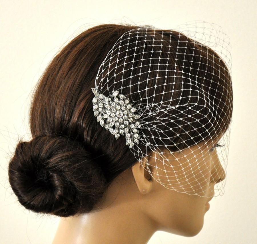 زفاف - BIRDCAGE VEIL ,bridal comb, (2 items),bridal veil wedding, Bridal Hair comb,,bridal head piece,bridal hair accessories