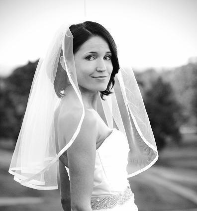 زفاف - Wedding Veil - 22 inch wedding veil with satin ribbon edge