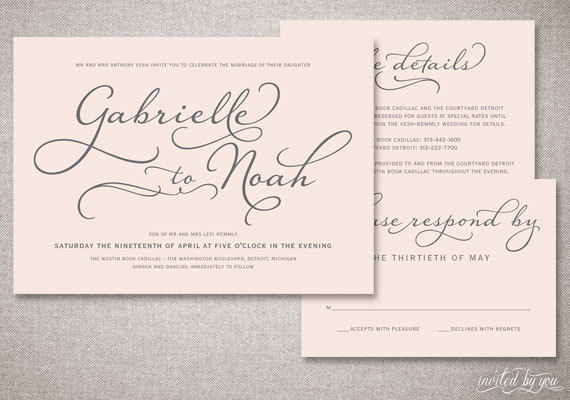 Beautiful Script Gabrielle Wedding Invitations Suite Romantic