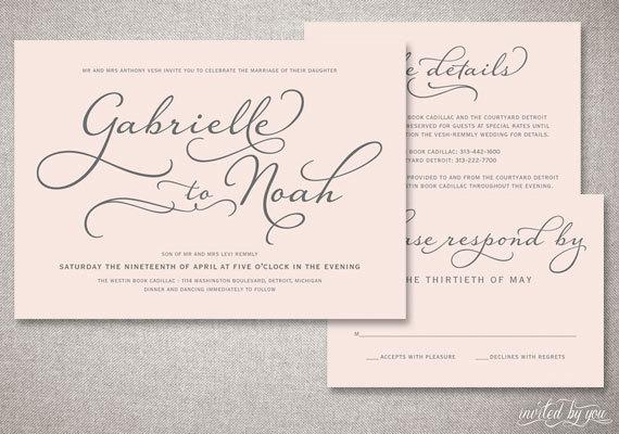 "Mariage - Beautiful Script ""Gabrielle"" Wedding Invitations Suite - Romantic Handwritten Calligraphy - Custom Digital Printable or Printed Invitation"