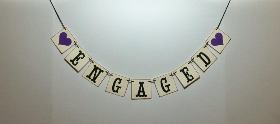 زفاف - mini ENGAGED banner engagement photo prop bridal shower decor can do custom colors