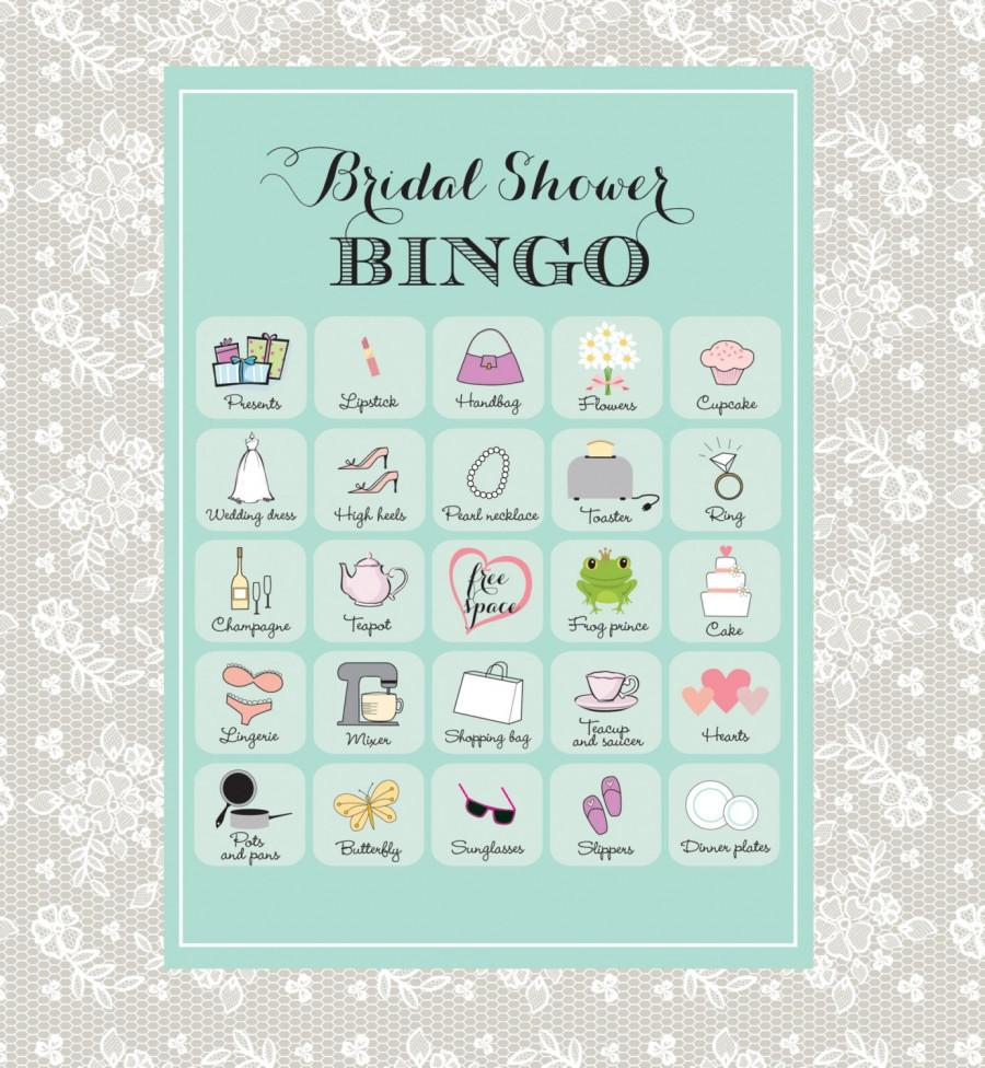 printable bridal shower bingo 40 unique game cards in robins egg blue instant download