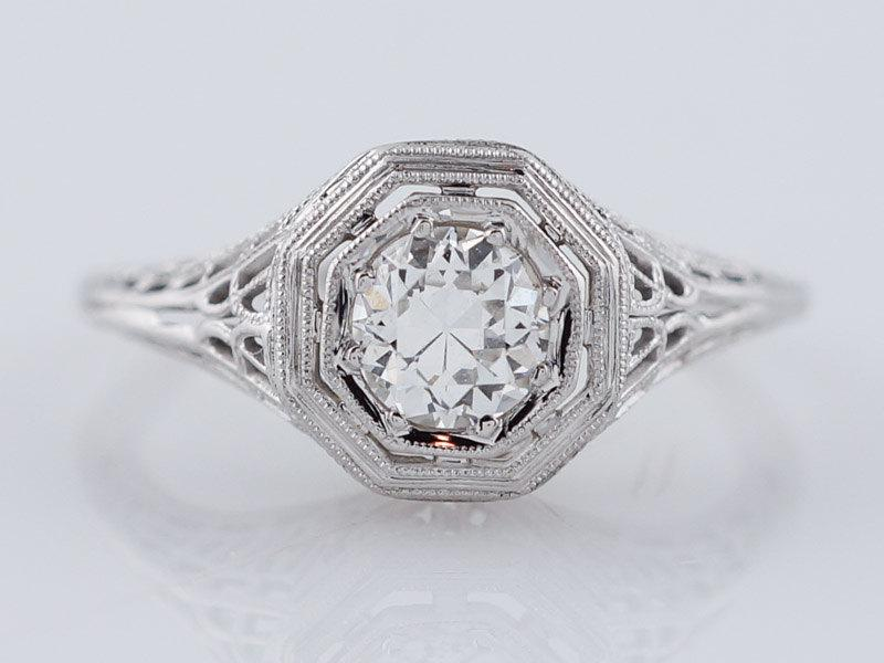 زفاف - Filigree Engagement Ring Art Deco .47ct Old European Cut Diamond in 18k White Gold