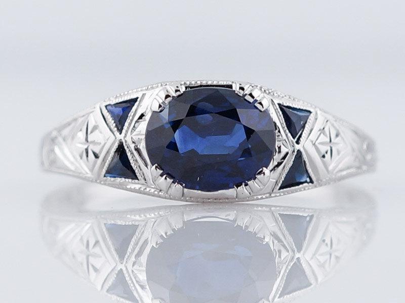 زفاف - 1920's Engagement Ring Art Deco 1.52ct Oval Cut Sapphire in Platinum