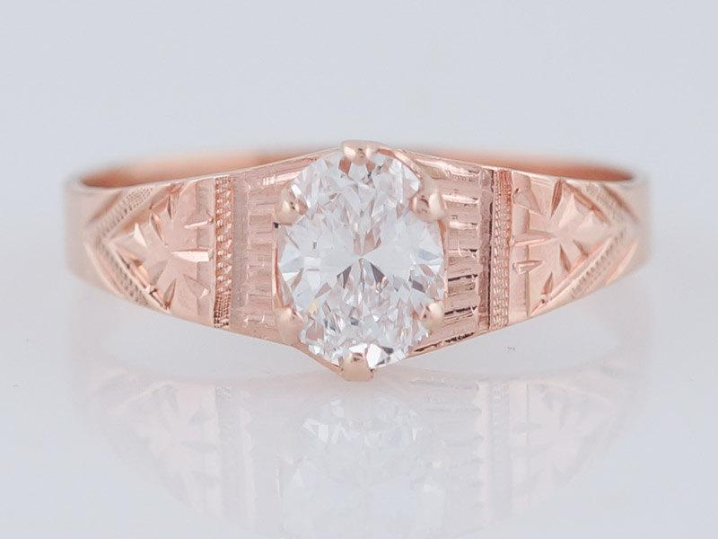 زفاف - Antique Engagement Ring Victorian .63ct Oval Cut Diamond in 14k Rose Gold